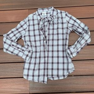 blue plaid casual button down